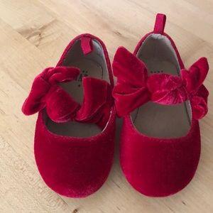 Gap red velvet ballet flats